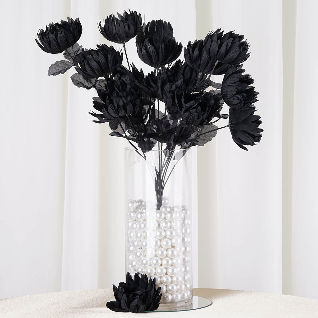 Black To Black Flowers 4: 4 Bush 56 Pcs Black Artificial Giant Silk Chrysanthemum