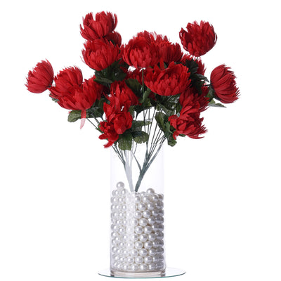 56 Giant Artificial Chrysanthemum Flowers - Red