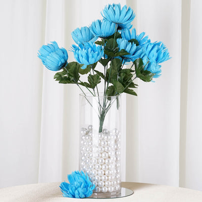 56 Giant Artificial Chrysanthemum Flowers - Turquoise