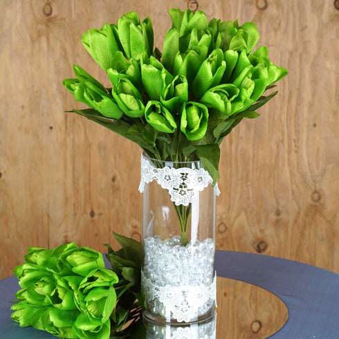 4 Bush 56 Pcs Green Artificial Silk Tulip Flowers
