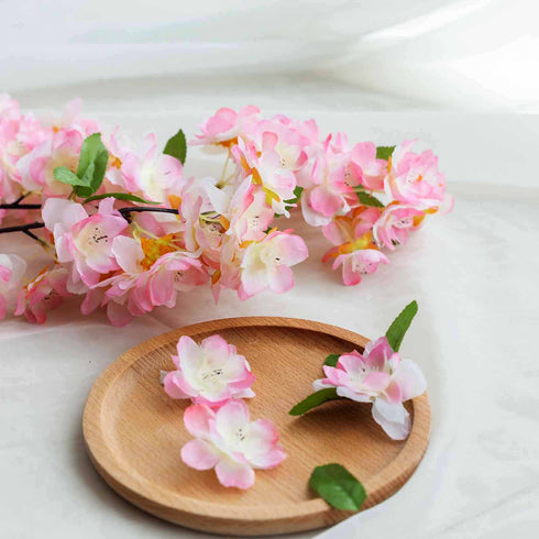 "10 Pack | 40"" Tall Pink Silk Artificial Flowers Cherry Blossoms Bushes"