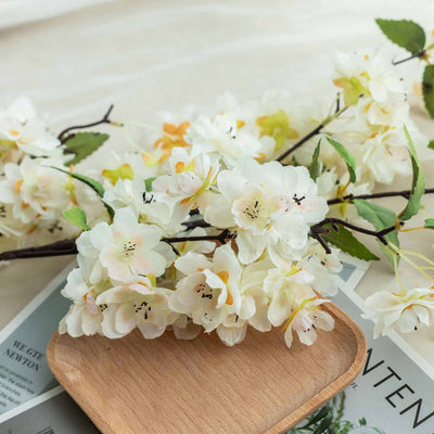 "10 Pack | 40"" Tall Cream Silk Artificial Flowers Cherry Blossoms Bushes"