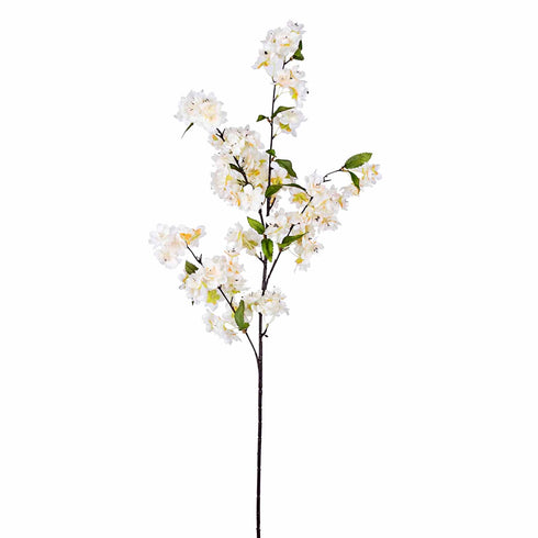 "10 Pack | 40"" Tall White Silk Artificial Flowers Cherry Blossoms Bushes"