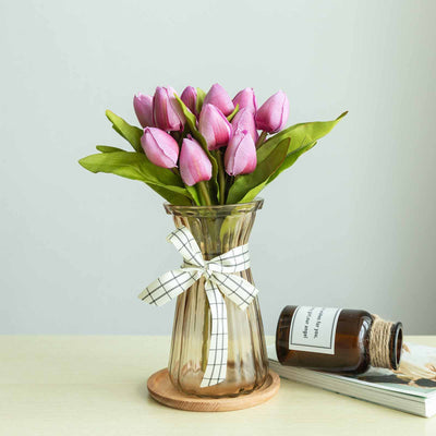 12 Pack | 108 Pcs Lavender Tulip Artificial Flowers