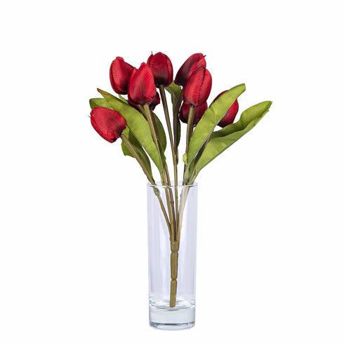 12 Pack | 108 Pcs Red Tulip Artificial Flowers