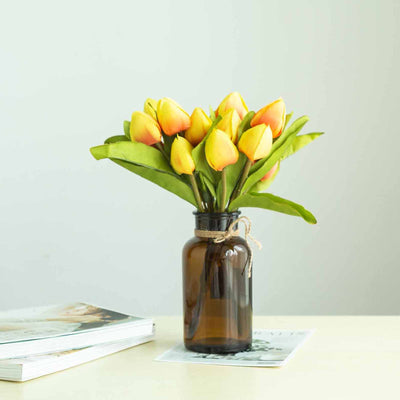 12 Pack | 108 Pcs Yellow Tulip Artificial Flowers