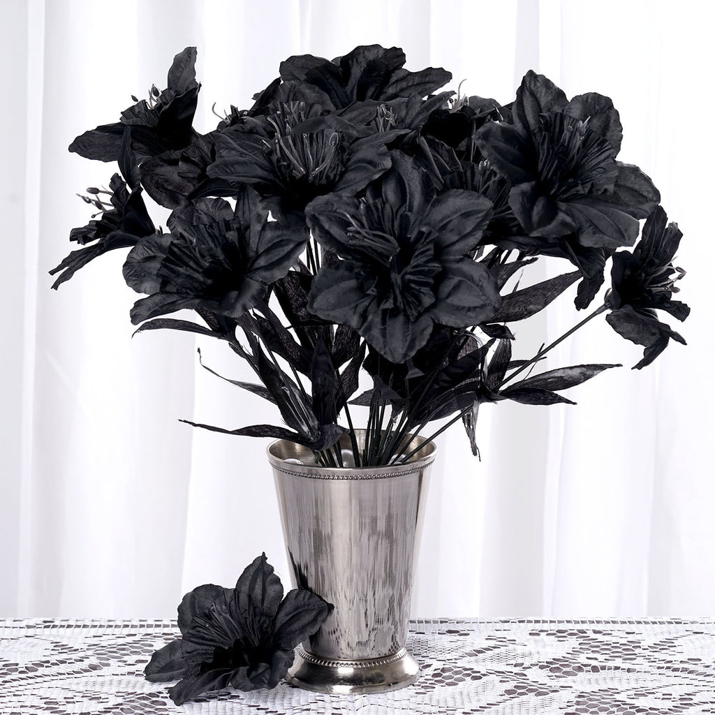 72 Artificial Silk Daffodil Wedding Flower Bush Vase Centerpiece Decor - Black