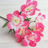12 Bush 72 pcs Fushia Artificial Silk Daffodil Flower Bridal Bouquet Wedding Decoration