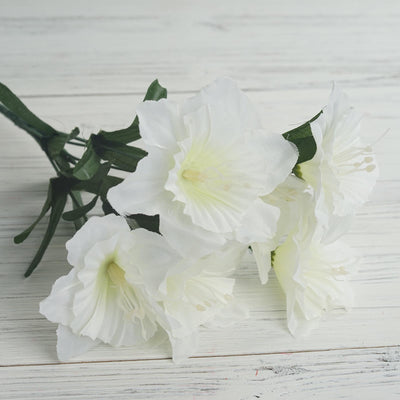 12 Bush 72 pcs Ivory Artificial Silk Daffodil Flowers