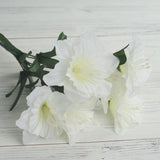 12 Bush 72 pcs Ivory Artificial Silk Daffodil Flower Bridal Bouquet Wedding Decoration
