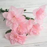 12 Bush 72 pcs Pink Artificial Silk Daffodil Flower Bridal Bouquet Wedding Decoration