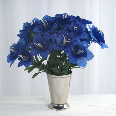 12 Bush 72 pcs Royal Blue Artificial Silk Daffodil Flowers