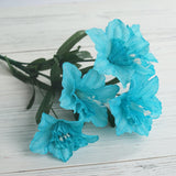 12 Bush 72 pcs Turquoise Artificial Silk Daffodil Flowers
