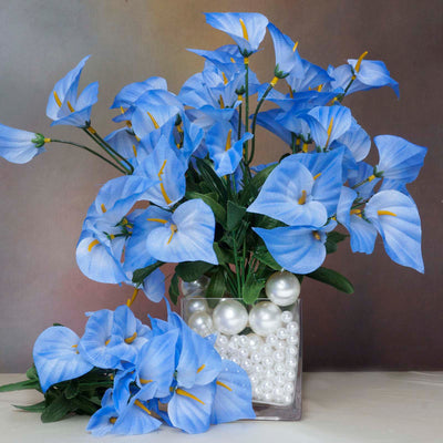 12 Bush 252 Pcs Blue Artificial Mini Calla Lilies Flowers