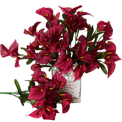 12 Bush 252 Pcs Burgundy Artificial Mini Calla Lilies Flowers