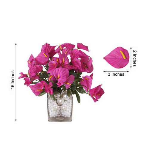 12 Bush 252 Pcs Fushia Artificial Mini Calla Lilies Flowers