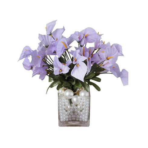 12 Bush 252 Pcs Lavender Artificial Mini Calla Lilies Flowers