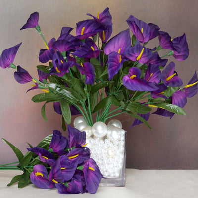 12 Bush 252 Pcs Purple Artificial Mini Calla Lilies Flowers