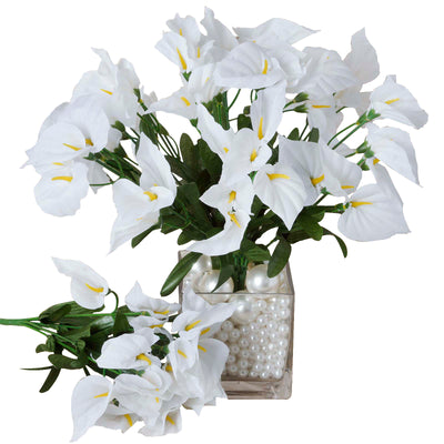 12 Bush 252 Pcs White Artificial Mini Calla Lilies Flowers