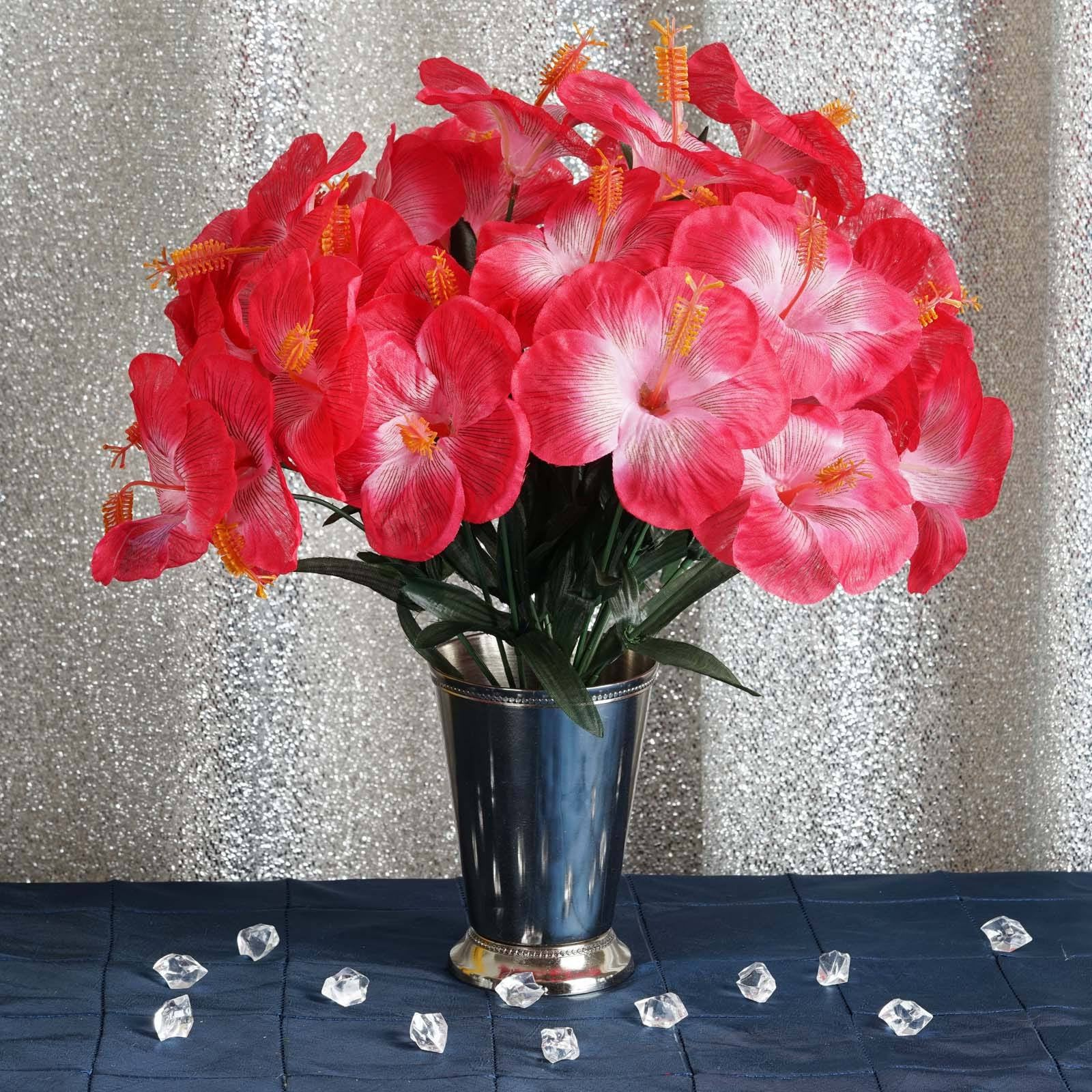 12 Bush 60 Pcs Fushia Artificial Silk Hibiscus Flowers Wedding Vase ...