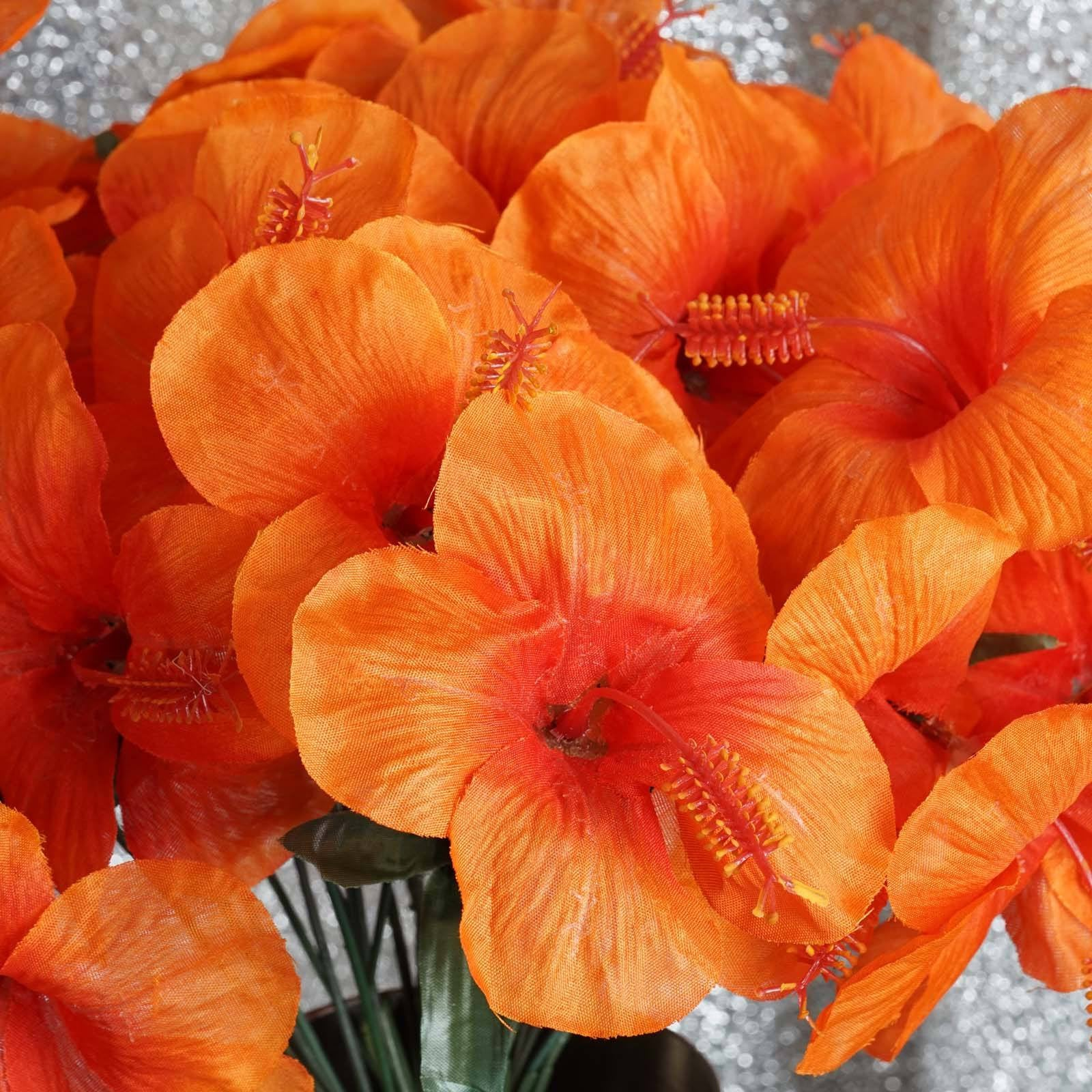 60 artificial silk hibiscus flowers orange efavormart 60 silk hibiscus bush orange izmirmasajfo