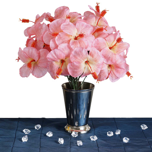 12 Bush 60 Pcs Pink Artificial Silk Hibiscus Flowers