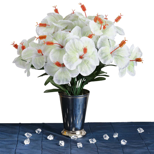 12 Bush 60 Pcs White Artificial Silk Hibiscus Flowers