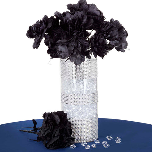 12 Pack Black Artificial Peony Flower Bridal Bouquet