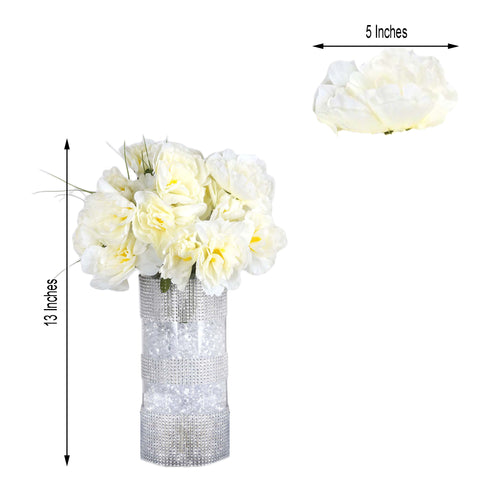 12 Bush 60 Pcs Ivory Silk Artificial Peonies Bulk