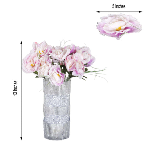 12 Bush 60 Pcs Lavender Artificial Silk Peony Flowers