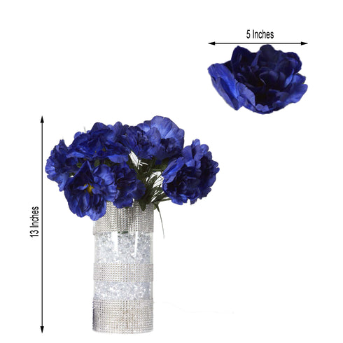 12 Bush 60 Pcs Navy Blue Artificial Silk Peony Flowers