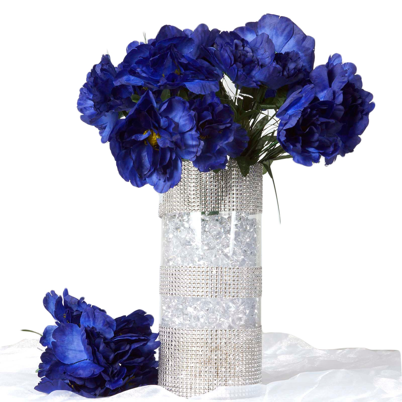 Navy Blue 12 Bouquets with 60 Artificial Silk Peony Flowers Wedding ...