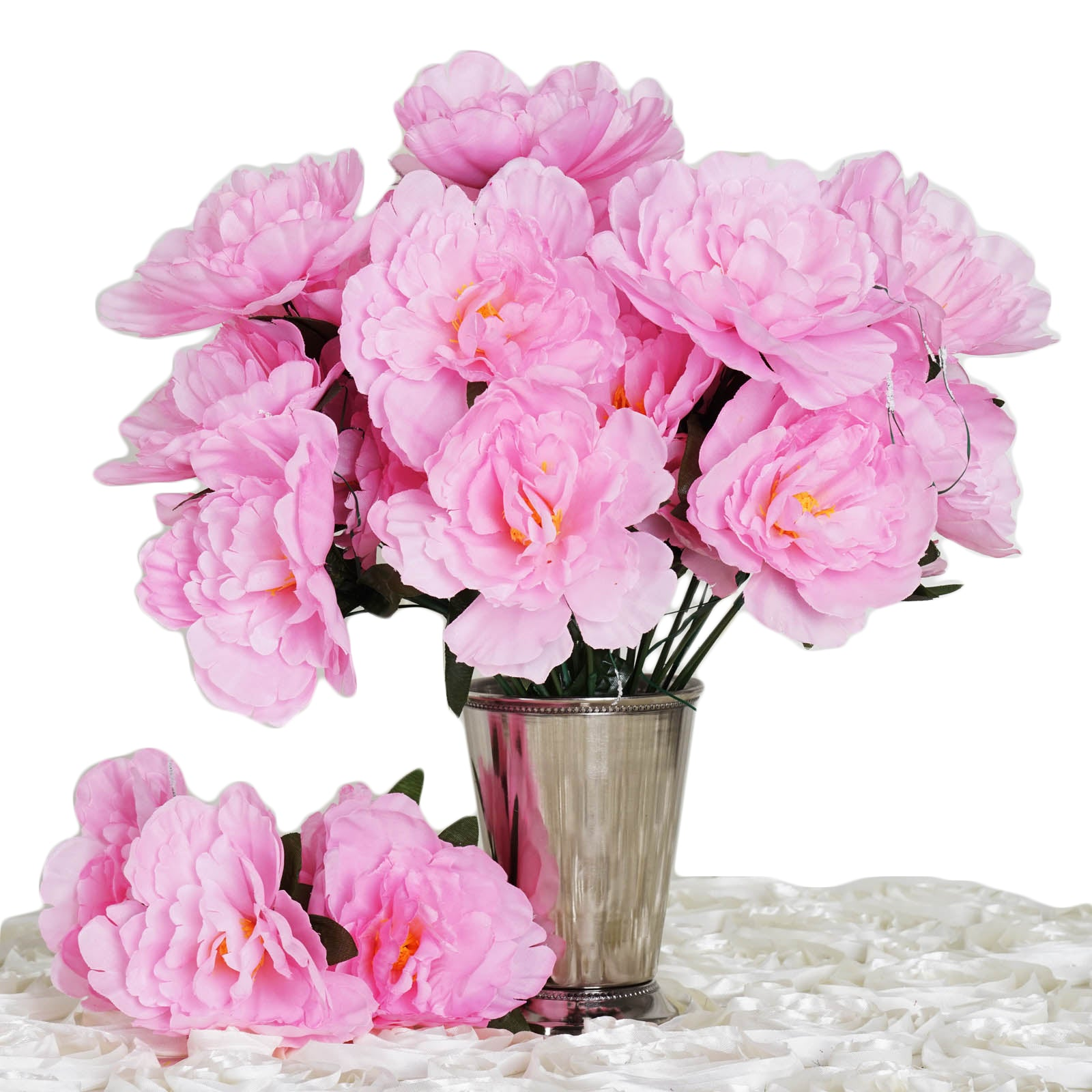 Pink 12 Bouquets With 60 Artificial Silk Peony Flowers Wedding