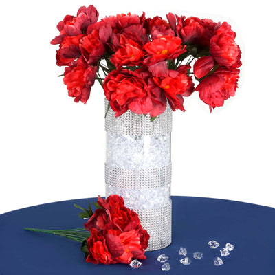 12 Bush 60 Pcs Red Artificial Silk Peonies Flowers