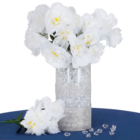 12 Pack White Artificial Peony Flower Bridal Bouquet