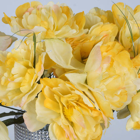 12 Bushes | 60 Pcs Yellow Silk Peonies Artificial Flowers