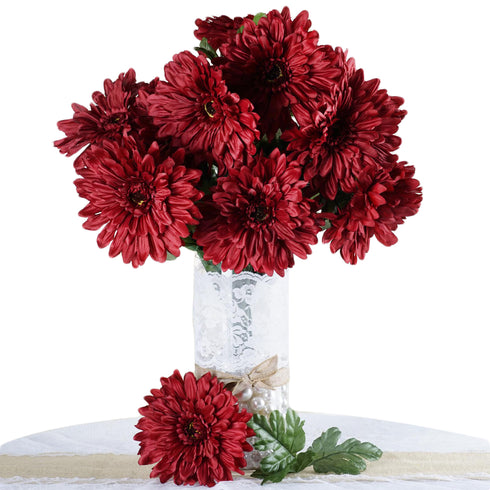 4 Bush 28 Pcs Burgundy Gerbera Daisy Artificial Flowers