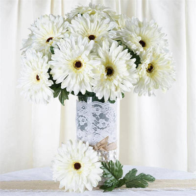 28 Gerbera Daisy Bush-Cream