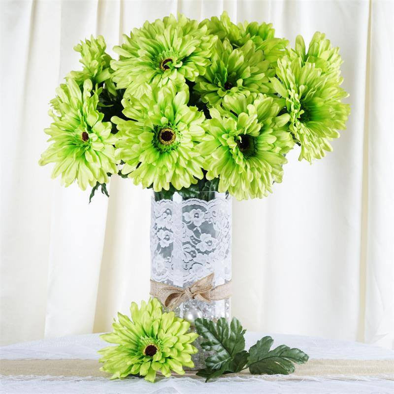 4 bush 28 pcs lime green gerbera daisy artificial flowers wedding 28 gerbera daisy bush lime green mightylinksfo