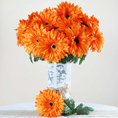 4 Bush 28 Pcs Orange Gerbera Daisy Artificial Flowers