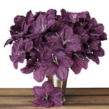 10 Bush 60 Pcs Eggplant Artificial Silk Eastern Lily Flowers