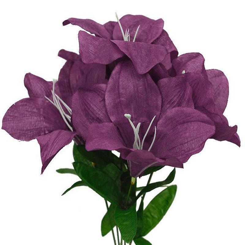 60 Artificial Eastern Lily Wedding Flower Vase Centerpiece Decor - Eggplant