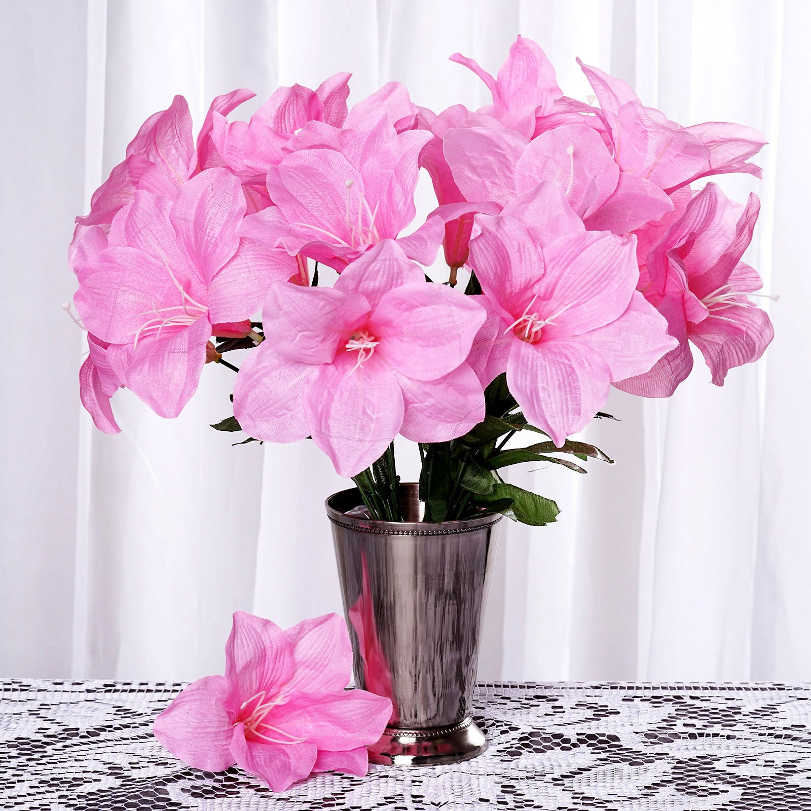 10 Bush 60 Pcs Pink Artificial Silk Eastern Lily Wedding Flowers ...
