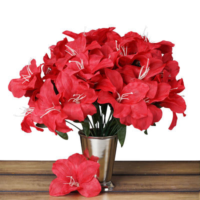 10 Bush 60 Pcs Red Artificial Silk Eastern Lily Flowers