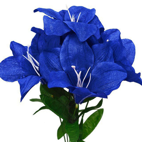 60 Artificial Eastern Lily Wedding Flower Vase Centerpiece Decor - Royal Blue