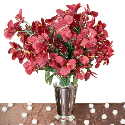 6 bush 144 pcs burgundy amaryllis artificial silk flowers efavormart 144 artificial silk amaryllis flowers burgundy mightylinksfo
