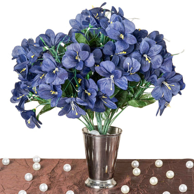 6 bush 144 pcs navy amaryllis artificial silk flowers wedding 144 artificial silk amaryllis flowers navy mightylinksfo