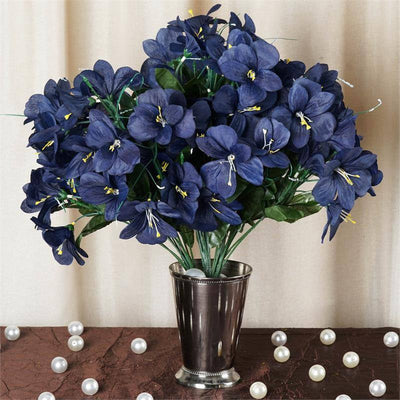 6 bush 144 pcs navy amaryllis artificial silk flowers wedding 144 silk amaryllis navy mightylinksfo
