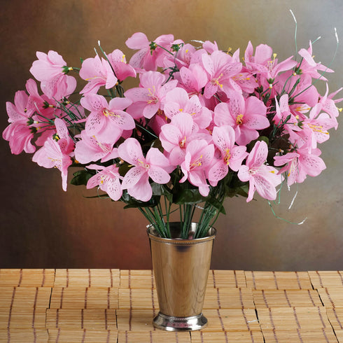 6 Bush 144 Pcs Pink Amaryllis Artificial Silk Flowers