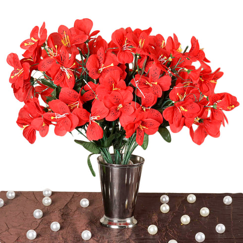 144 Artificial Silk Amaryllis Flowers - Red